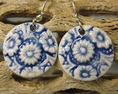 Navy Blue Daisy Porcelain Earrings With Sterling Silver Earwires