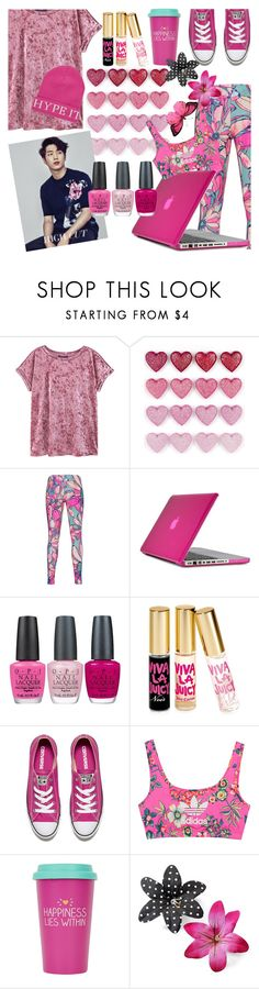 """In the pink"" by elliewriter ❤ liked on Polyvore featuring MANGO, adidas Originals, Speck, OPI, Juicy Couture, Converse, Topshop, Clips and River Island"