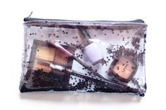 Dark heart, Transparent handbag, Clear bag, Glitter pouch, Clear Vinyl Pouch, confetti