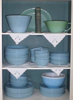 Love turquoise fire king...I have two of the stacking bowls, a few saucers and bowls, sugar & cream set....plates and larger bowls needed! :)