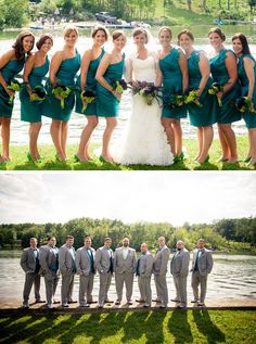 Beautiful emerald bridesmaid dresses with peacock inspired flowers