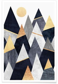 Fancy Mountains en Affiche premium par Elisabeth Fredriksson | JUNIQE