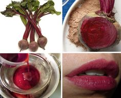 cheek and lip stain from beets.