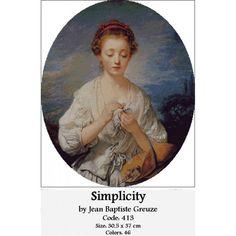 Gobelin Set Simplicity by Jean Baptiste Greuze Counted Cross Stitch Kits, Needlepoint, Cross Stitch Patterns, Mona Lisa, Tapestry, Artwork, Diy, Goblin, Hanging Tapestry
