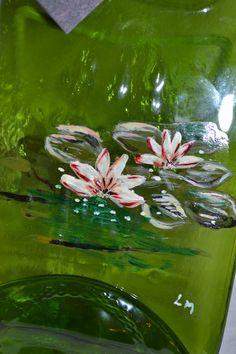 Handpainted Water Lily Lilies Waterlily wine bottle by oldcargirl, $29.00