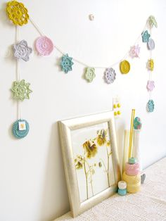 Pastel crochet garland, Mimi flower bunting in spring pastels - MADE TO ORDER