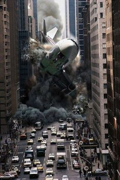 Steve McGhee (Canada) - photomontage 2: Plane crash on a city street