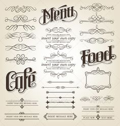 Calligraphic Design Elements  #GraphicRiver         Calligraphy Design Elements. Editable decorative flourishes and borders.   This file has been created in Adobe Illustrator CS5 and supplied as an eps10 file. All fonts in the EPS file are outlined. The Ai file has not been outlined and is editable although the main titles have been hand drawn. (AiCS, EPS.10, JPG).   Fonts used are Dustismo Roman and is available from .fontsquirrel as a free download.