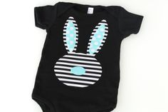 Easter Stripe Bunny Black and White Blue Boy Onesie T Shirt