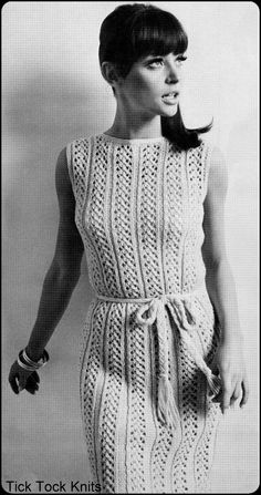 """Vintage Knitting Pattern For Women - Vertical Lace Panel Sleeveless Dress - Finished Bust Sizes 37"""", 39"""", 40.5"""", 42.5"""""""