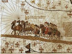 Marco Polo in viaggio con una carovana di cammelli