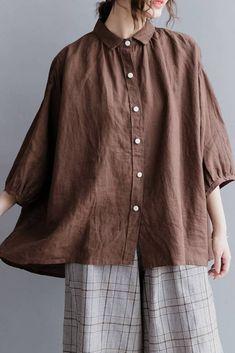 Casual Linen Pure Short Shirt Women Shirt Sleeve Shirt for WomenS2043