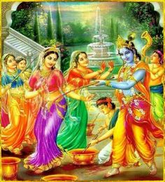 Krishna and the Gopis playing Holi