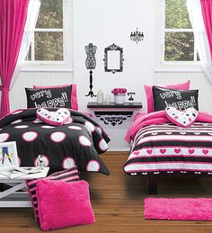 Twin and Full Size Girls and Teens Very Happy Comforter Set with Curtains Paris Room Decor, Paris Rooms, Paris Bedroom, Cool Girl Bedrooms, Beautiful Bedrooms, Purple Bedrooms, Baby Bedroom, Kids Bedroom, Bedroom Decor
