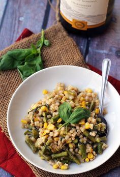 Filled with the flavors of spring and summer, this corn, asparagus, and basil barley risotto has bits of comfort in every bite.