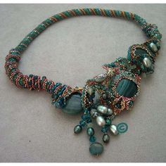 FreeForm Peyote Collar in Teals - 1, via Flickr.