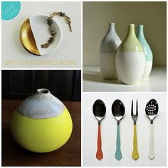 Dip Dye - is still very hot.  Have you Dip Dyed anything yet? Your hair? Your stockings?   Then perhaps you are ready for some new projects for your home.   Here are some inspiration. How about dip dying things for your table?