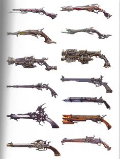 Save those thumbs Anime Weapons, Sci Fi Weapons, Weapon Concept Art, Fantasy Weapons, Weapons Guns, Revolver, Steampunk Weapons, Gun Art, Pathfinder Rpg