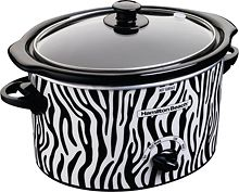 Zebra printed crock pot. You can also get a matching zebra printed crock pot carrier to go with it!