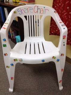 Share Chair - When kids share something with the counselor (positive, negative, or neutral) they get to add a sticker!  Great way to visually create rapport!