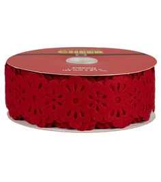 Holiday Cheer 1.5in X 30ft Laser Felt Lace Red