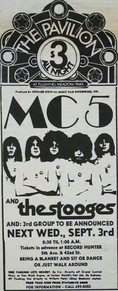 The MC5 and The Stooges at The Pavilion, NYC 1969.