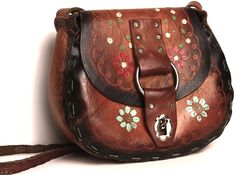 Leather Saddle Bag With Hand-painted Flowers <3