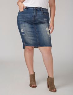 Fast Lane Denim Pencil Skirt with Step Hem (original price, $59.95) available at #Maurices