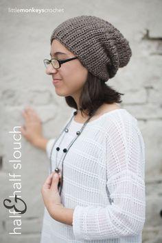 Half & Half Slouch Crochet Hat | Free Slouchy Hat Crochet Pattern  by Little Monkeys Crochet - matching boot cuffs on my Crochet Craziness board!