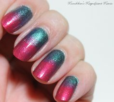 Gradient Nail Design, using OPI Hawaii polishes, Go with the Lava Flow and This Color's Making Waves.