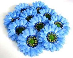 "Amazon.com: (100) BIG Silk Blue Gerbera Daisy Flower Heads , Gerber Daisies - 3.5"" - Artificial Flowers Heads Fabric Floral Supplies Wholesale Lot for Wedding Flowers Accessories Make Bridal Hair Clips Headbands Dress: Furniture & Decor"