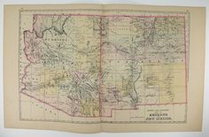 Antique Arizona Map New Mexico Vintage Map 1894 Southwestern State Map Unique Gift for Home Wedding Gift Under 50 Genealogy Old Travel Map by OldMapsandPrints on Etsy