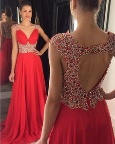 Backless Prom Dresses,Sexy Prom Dress,Red Prom Dress,A Line Prom Dress,Chiffon Prom Dress