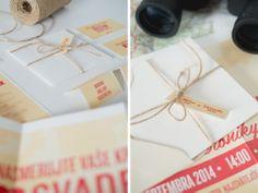 Naozaj netradičný formát svadobného oznámenia. Videli ste už pozvánku vo formáte A3? My nie. A preto sme vytvorili toto veľkoformátové oznámenie, ktorým určite prekvapíte všetkých hostí. Aby sa zmestilo do obálky je poskladané a uviazané poštovým motúzom. Stačí ho už len poslať. Gift Wrapping, Gifts, Gift Wrapping Paper, Presents, Wrapping Gifts, Favors, Gift Packaging, Gift