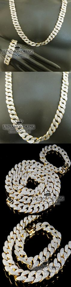 Chains Necklaces and Pendants 137839: Sand Glitter Men Cuban Miami Curb Chain Necklace Bracelet Set Yellow Gold Finish BUY IT NOW ONLY: $69.99