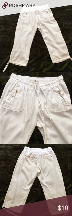 """Kiss & Cry capri linen pants Relaxed linen capri pants styled with an elastic drawstring waist, patch front/back pockets with gold-tone accents and drawstring cuffs. Perfect for fun in the summer sun. 55% linen/45% rayon. 19"""" inseam. Kiss & Cry Pants Capris"""
