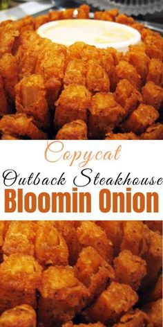 """Copycat Outback Steakhouse Bloomin Onion Recipe for Copycat Outback Steakhouse Bloomin Onion – Learn how to make everyone's favorite appetizer from the """"Aussie"""" steakhouse. While not accurate, we challenge you to be able to tell the difference! Air Fryer Dinner Recipes, Air Fryer Recipes Easy, Weight Watchers Desserts, Outback Steakhouse Bloomin Onion Recipe, Outback Steakhouse Recipes, Bloomin Onion Copycat Recipe, Outback Bloomin Onion, Outback Recipes, Yummy Appetizers"""