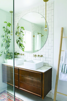 Bathroom Mirror Ideas - master bathroom renovation // before & after // sarah sherman samuel Bathroom Renovation, Bathroom Inspiration, Amazing Bathrooms, Trendy Bathroom, Bathrooms Remodel, Round Mirror Bathroom, Chic Bathrooms, Tile Bathroom, Bathroom Renovations