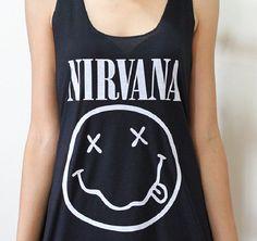 Nirvana Shirt Smile t tshirt Happy tank top by 4Seasonshop on Etsy, $14.00