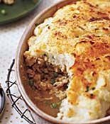 Ground Turkey Shepherd's Pie --- The potatoes are fabulous, but the ground turkey part is not that great -- needs some work.