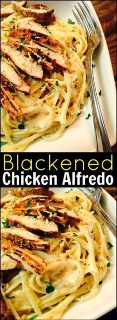 This Blackened Chicken Alfredo is one of my all time favorite pasta dishes. So decadent. So flavorful. So Naughty! You won't believe how easy is it to make at home! Fancy enough for a special occ (Creamy Chicken Alfredo) Blackened Chicken Alfredo, Grilled Chicken Alfredo, Healthy Chicken Alfredo, Applebees Chicken Alfredo Recipe, Chicken Alfredo Recipe With Cream Cheese, Chicken Broccoli Fettuccine Alfredo, Chicken Carbonara Pasta, Shrimp Pasta, Al Dente