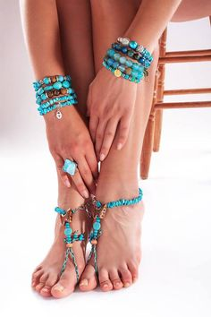 "Barefoot Sandals Turquoise Gemstone Foot Jewelry Boho beach sandal bracelet ""TURQUOISE BUTTERFLY"""