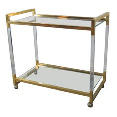 Lucite Bar Cart | From a unique collection of antique and modern bar carts at https://www.1stdibs.com/furniture/tables/bar-carts/