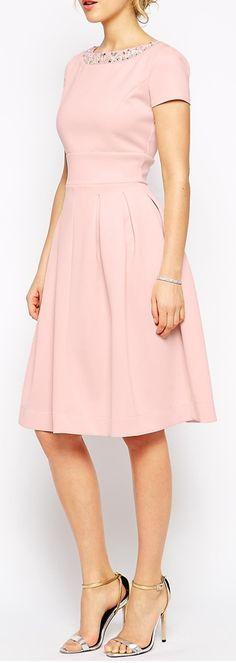 beaded neckline dress-simple midi dress