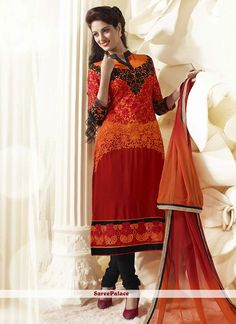 Maroon Shaded Faux Georgette Churidar Style Suit