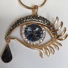 Gold Plated Deep Blue Evil Eye Hamsa Crystal Rhinestone Teardrop Pendant Necklace