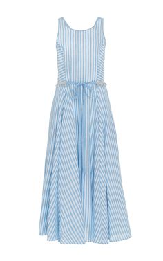 Gul Hurgel Blue Sleeveless Striped Midi A Line Dress FRONT | Spring and Summer Dresses