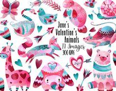 Valentines Day Animals Clipart by DigitalArtsi on @creativemarket