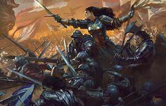 ArtStation - Joan of Arc cover art, Bayard Wu Fantasy Concept Art, Fantasy Character Design, Fantasy Artwork, Character Art, Fantasy Battle, High Fantasy, Medieval Fantasy, Dungeons And Dragons, Joan Of Arc