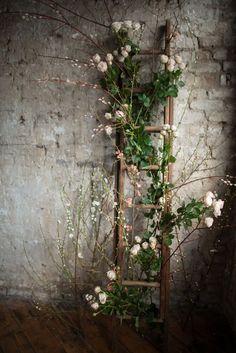 Flower Entwined Rustic Ladder Wedding Decor | Shanna Melville Bridal | Ballet Inspired Shoot | Ballerina Wedding Inspiration | Images From Julie Michaelsen | http://www.rockmywedding.co.uk/ballet-inspired-bridal-looks-big-day/